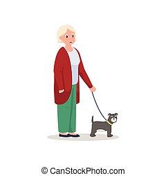 schattig, wandelende, vrouw, dog, senior, het glimlachen