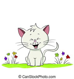 schattig, weide, illustratie, kat