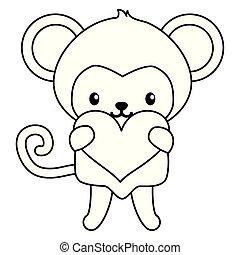 schattig, weinig; niet zo(veel), aap, hart, karakter, baby