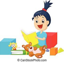 schattig, weinig; niet zo(veel), boek, speelgoed, girl lezen