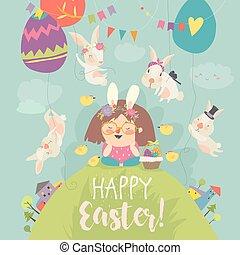 schattig, weinig; niet zo(veel), bunnies., meisje, pasen, vrolijke