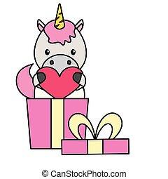 schattig, weinig; niet zo(veel), cadeau, hart, eenhoorn, baby