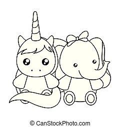 schattig, weinig; niet zo(veel), eenhoorn, karakter, elefant, baby