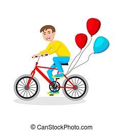 schattig, weinig; niet zo(veel), fiets, jongen, vector, achtergrond, paardrijden, witte