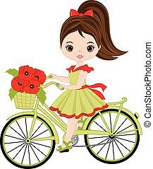 schattig, weinig; niet zo(veel), fiets, vector, paardrijden, meisje