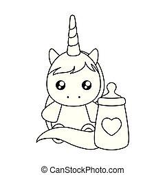 schattig, weinig; niet zo(veel), fles, eenhoorn, baby, melk
