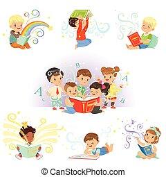 schattig, weinig; niet zo(veel), geitjes, childrens, kleurrijke, tales, vector, illustraties, wereld, elfje, lezende , droom, set.