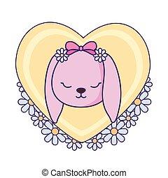 schattig, weinig; niet zo(veel), hart, baby, bloemen, konijntje