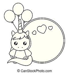 schattig, weinig; niet zo(veel), helium, eenhoorn, baby, ballons