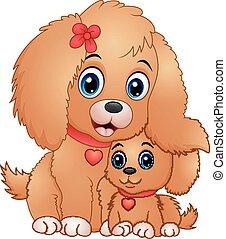 schattig, weinig; niet zo(veel), honden, spotprent
