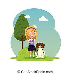 schattig, weinig; niet zo(veel), kamp, meisje, puppy