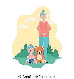 schattig, weinig; niet zo(veel), kamp, moeder, zwangerschap, meisje