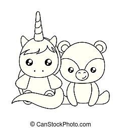 schattig, weinig; niet zo(veel), karakter, beer, eenhoorn, baby