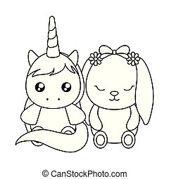 schattig, weinig; niet zo(veel), karakter, eenhoorn, baby, konijntje