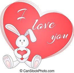 schattig, weinig; niet zo(veel), konijntje, rood hart