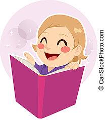schattig, weinig; niet zo(veel), lezende , meisje