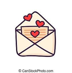 schattig, weinig; niet zo(veel), liefde brief, hearts.