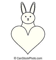 schattig, weinig; niet zo(veel), liefde, konijn, hart