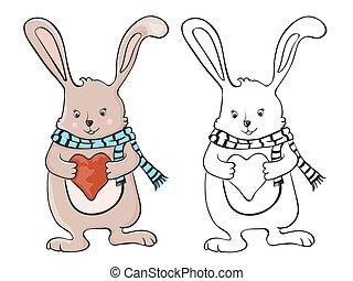 schattig, weinig; niet zo(veel), liefde, konijntje, hart