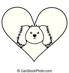schattig, weinig; niet zo(veel), liefdehart, aanhalen, dog
