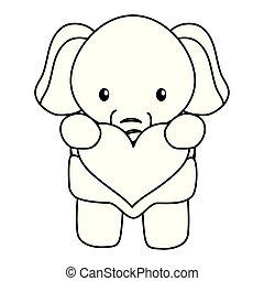 schattig, weinig; niet zo(veel), liefdehart, karakter, elefant, baby