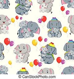 schattig, weinig; niet zo(veel), model, seamless, elefant, spelend, vrolijke