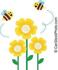 schattig, weinig; niet zo(veel), ongeveer, vliegen, bijtjes, bloemen