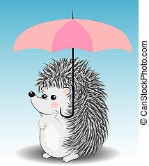 schattig, weinig; niet zo(veel), paraplu, spotprent, egel