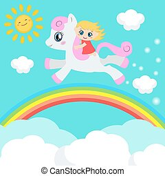 schattig, weinig; niet zo(veel), pony., meisje, paardrijden