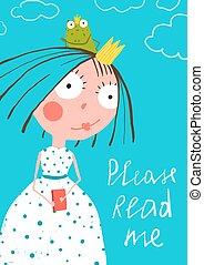 schattig, weinig; niet zo(veel), poster, kikker, prinsesje, verhaal, boek, elfje, lezende , prins