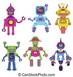 schattig, weinig; niet zo(veel), -, robots, verzameling, jouw, vector, ontwerp, plakboek, of