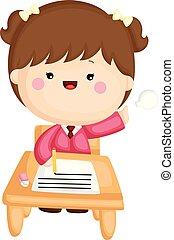 schattig, weinig; niet zo(veel), set, studerend , school, vector, meisje