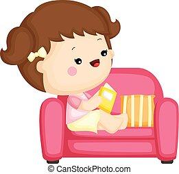 schattig, weinig; niet zo(veel), set, zittende , bankstel, vector, girl lezen, boek