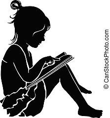 schattig, weinig; niet zo(veel), silhouette, boek, girl lezen