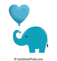 schattig, weinig; niet zo(veel), silhouette, hart, balloon, elefant