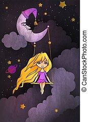 schattig, weinig; niet zo(veel), sky., concept., slapeloosheid, stijl, illustratie, vector, halvemaan, het slingeren, nacht, voorkant, meisje, spotprent