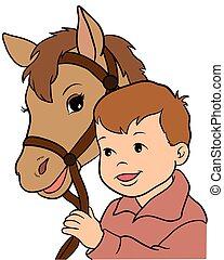 schattig, weinig; niet zo(veel), tien, eps, illustratie, vector, paardrijden, meisje, horse.