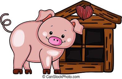 schattig, weinig; niet zo(veel), varken, hout, woning