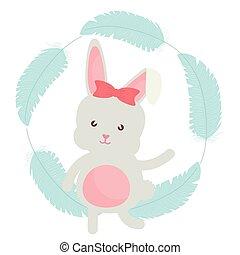 schattig, weinig; niet zo(veel), veertjes, frame, konijn