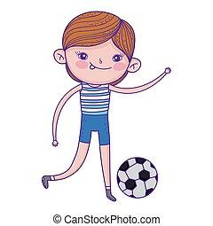 schattig, weinig; niet zo(veel), voetbal, spelend, jongen
