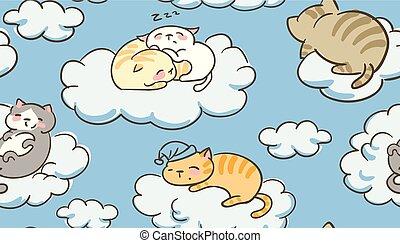 schattig, weinig; niet zo(veel), wolken, doodle, seamless, kat, vector, slaap, model