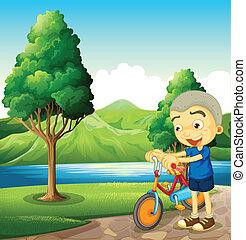schattig, weinig; niet zo(veel), zijn, jongen, fiets, spelend