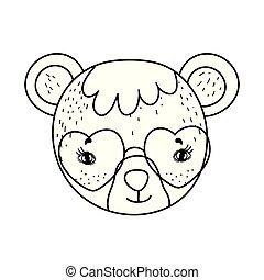 schattig, weinig; niet zo(veel), zonnebrillen, beer, hart