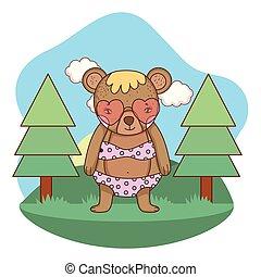 schattig, weinig; niet zo(veel), zonnebrillen, hart, kamp, beer