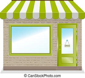 schattig, winkel, pictogram, met, groene, awnings.