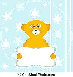 schattig, winter, gekke , lemur, zittende , lege, blank., glimlachen, kaart