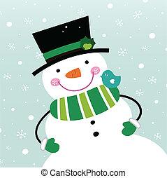 schattig, winter, sneeuwpop, vrijstaand, op, het sneeuwen,...