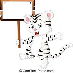 schattig, witte tijger, spotprent