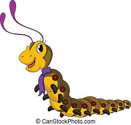 schattig, worm, gele, spotprent