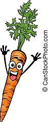 schattig, wortel, groente, spotprent, illustratie
